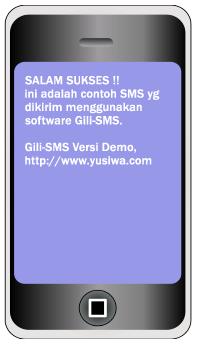 contoh SMS yang dikirim menggunakan Gili-SMS versi Demo