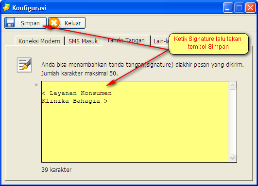 seting Signature di Gili-SMS