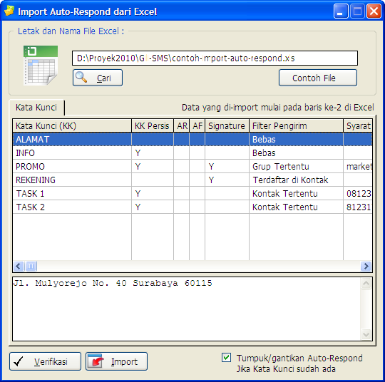 Import auto-respond dari Excel