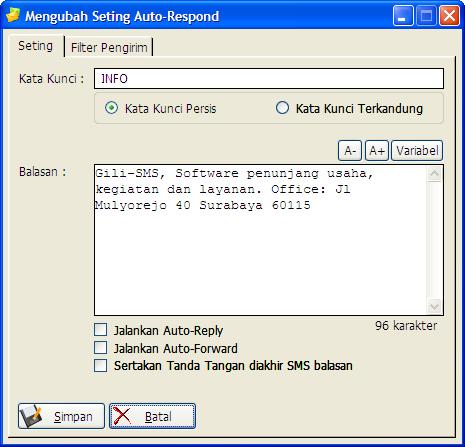 Seting Auto-Respond Gili-SMS