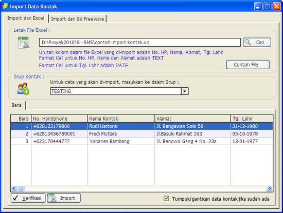 Import data kontak dari Excel