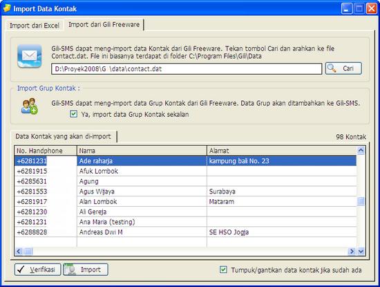 Import data kontak dari Gili Freeware