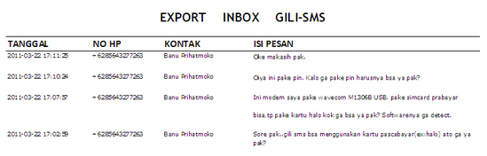 Hasil file export sms
