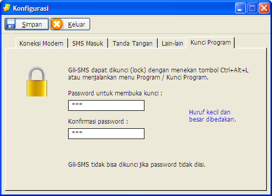 Proteksi software sms dengan password