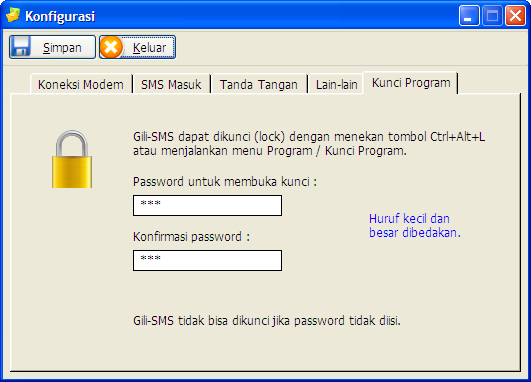 Proteksi Gili-SMS dengan password