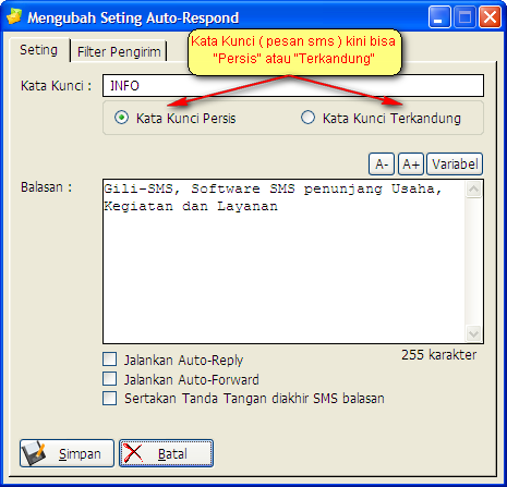 Seting Auto-Respond Software SMS